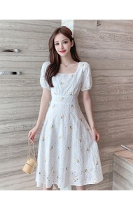 KDS065406S Embroidery daisy white dress