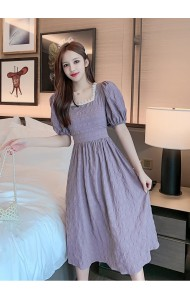 KDS063213S Puff sleeves purple dress