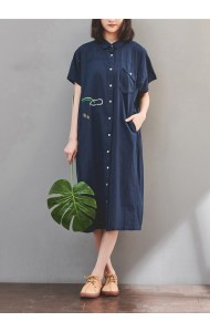 KDS067263M Linen oversized shirt dress