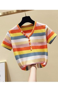 KTP062569L Rainbow v neck t shirt