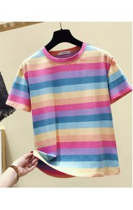 KTP068169L Rainbow round neck t shirt
