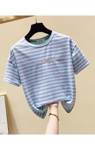 KTP063569L Embroidery stripes round neck t shirt