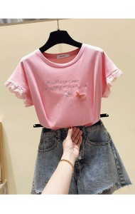 KTP061888L Lace sleeves embroidery t shirt