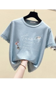 KTP062988L Lace sleeves embroidery t shirt