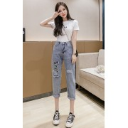 KPT076091L Embroidery mickey jeans