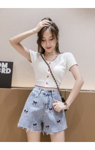 KPT078805F Embroidery mickey short jeans