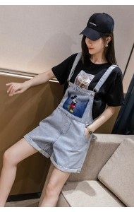 KPT079755H Embroidery mickey short jumpsuit