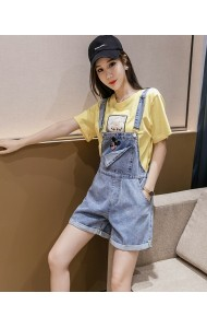 KPT078755H Embroidery mickey short jumpsuit