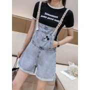 KPT077755H Embroidery mickey short jumpsuit