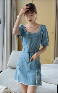 KDS077500Q Puff sleeves denim mini dress