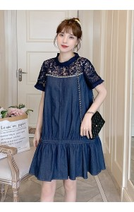 KDS078366J Plus size lace shoulder denim dress