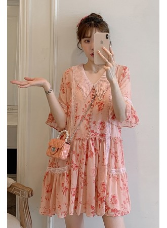 KDS075338J Plus size chiffon floral dress