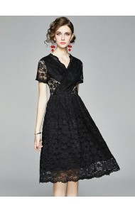 BDS070178Y V neck full lace dress