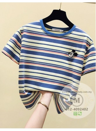 KTP076188J Embroidery mickey stripes t shirt