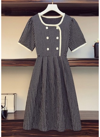 PDS071873O Plus size checker dress