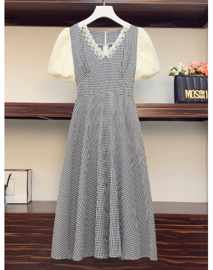 PDS072173O Plus size checker puff sleeves dress