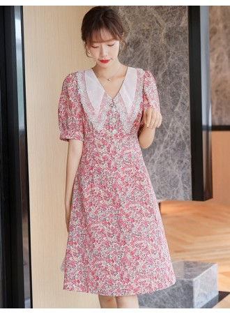 KDS077281D V neck lace collar floral dress