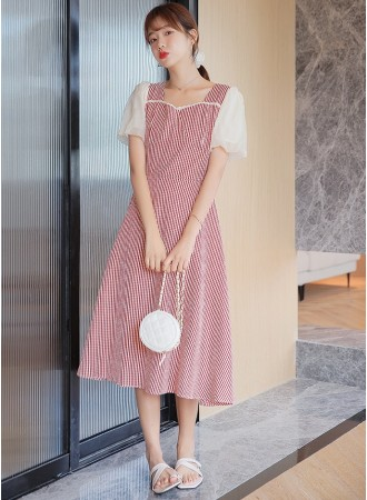 KDS076281D Puff sleeves checker dress