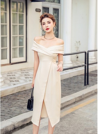 KDS070329X Split off shoulder dress