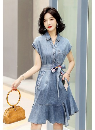 KDS08856M Ruffle belted denim dress