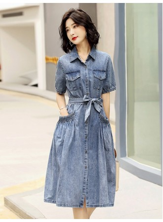 KDS08656M Flared belted denim dress