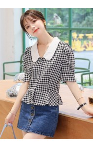 KTP08208Y Checker peplum blouse