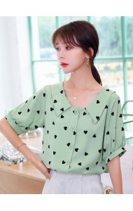 KTP080626T Heart shape chiffon blouse