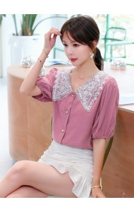 KTP081726T Lace sleeves chiffon blouse