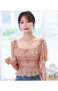 KTP083726T Off shoulder chiffon blouse