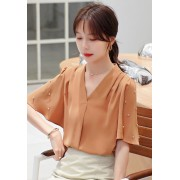 KTP087326T Pearl decorated trumpet sleeves blouse