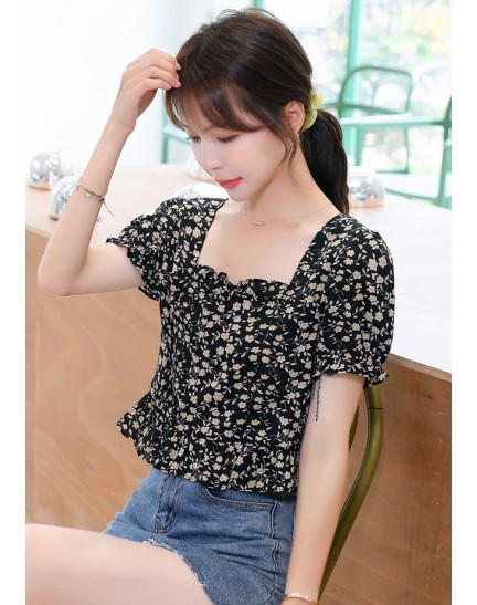 KTP089726T Puff sleeves floral peplum blouse