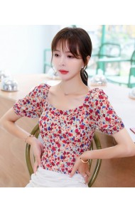 KTP087826T Puff sleeves floral mini blouse