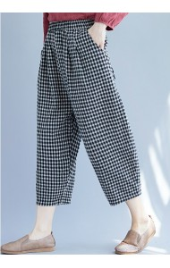 KPT081279M Checker linen pants