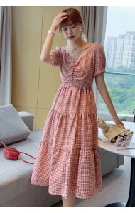 KDS083500Q Hana checker v neck dress
