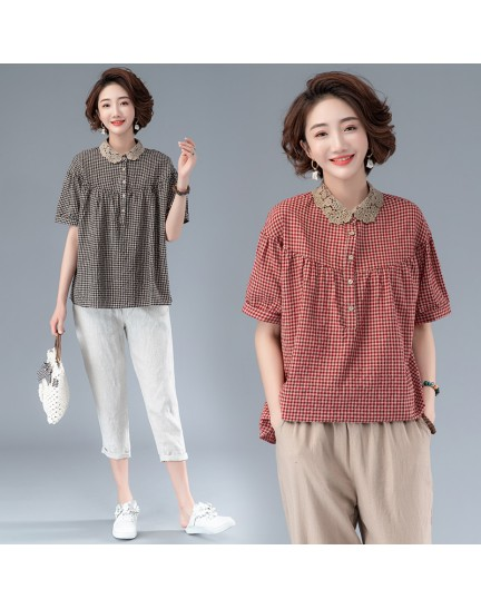 KTP08216K Plus size lace collar linen blouse