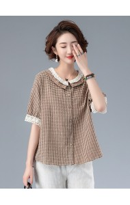 KTP08316K Plus size lace collar linen blouse