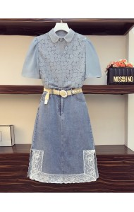 KST087306L Plus size lace top denim skirt set