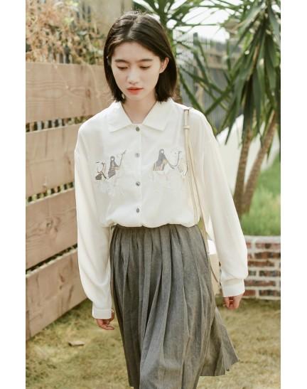 KTP083059Y Embroidery Egypt chiffon blouse