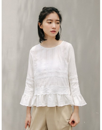 KTP088771S Linen embroidery blouse