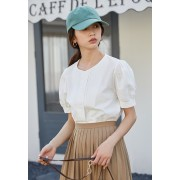KTP081238S Puff sleeves linen blouse