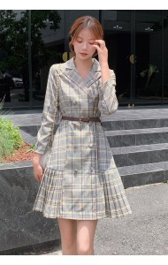 KDS095700Q Hana pleated checker coat dress
