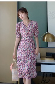 KDS090300Q Hana V neck puff sleeves floral dress
