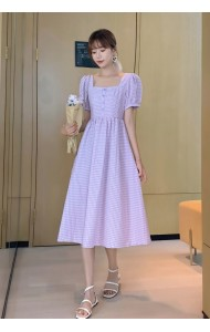 KDS092500Q Hana square neck checker dress