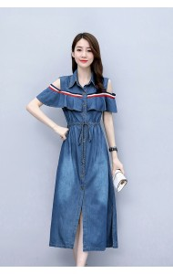 KDS09198M Off shoulder drawstring denim dress