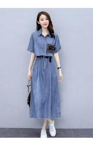 KDS09098M Belted bat wing denim dress