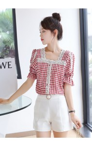 KTP093708X Checker cotton blouse