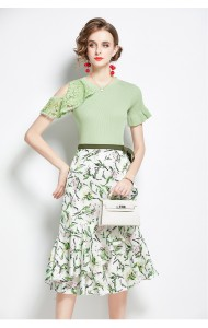 BST106779H Knit top floral skirt set