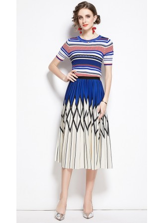BST105289H Knit top pleated skirt set