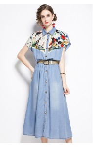 BSD101613T Mickey soft denim belted dress