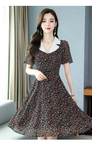 KDS107039Z Lace collar chiffon floral dress